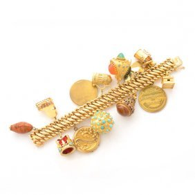 Multi-stone, Yellow Gold, Gold-filled, Metal Charm