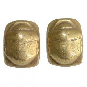 Pair Of 18k Yellow Gold Scarab Earrings.
