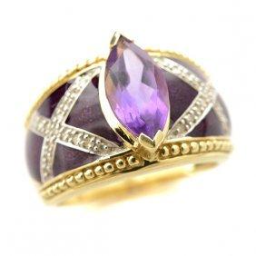 Amethyst, Diamond, Enamel, 14k Yellow Gold Ring.