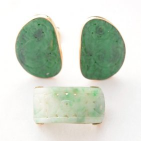 Jade, 14k Yellow Gold Jewelry Suite.