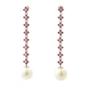 Pair Of Cultured Pearl, Diamond, Synthetic Ruby, 14k