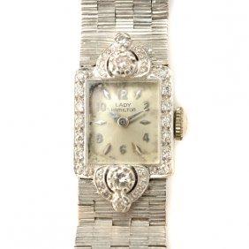 Lady Hamilton Diamond, 14k White Gold Wristwatch.