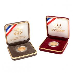 Us Lot Of Two Commemorative $5.00 Gold Coins 1988 And
