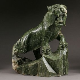 A Green Hardstone Figure Of A Tiger