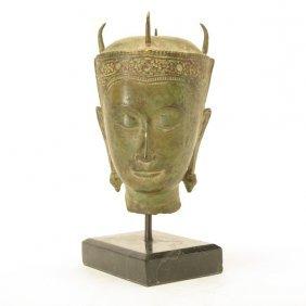 A Southeast Asian Mix Metal Model Of A Buddha Head