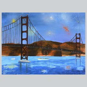 "Brian Wohlstadter ""golden Gate Bridge"" Oil On Canvas."
