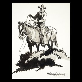 Nicholas S. Finfires American Western Art, Ink Drawing