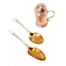 Pair Georgian Gilt Vermeil Sterling Fruit Spoons And A