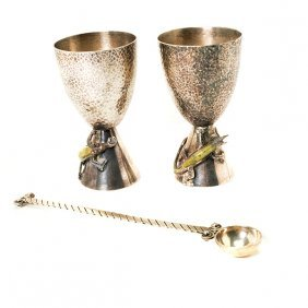 Pair Los Castillos Chalices And A Hector Aguilar Spoon