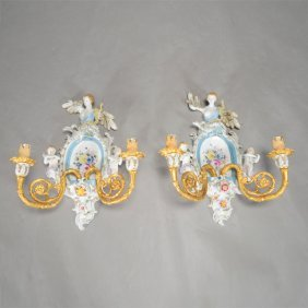 Pair Of German Porcelain And Dore Bronze Two Light