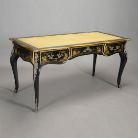 Karges Louis Xv Style Black Lacquered Bureau Plat In
