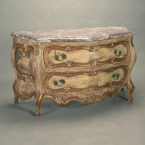 Venetian Polychrome Painted Two Drawer Commode