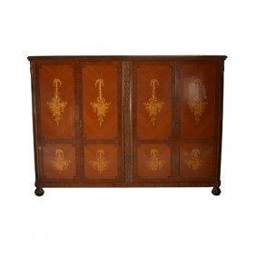 Dutch Marquetry Four Door Bronze Mounted Cabinet