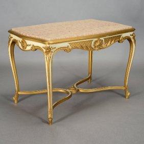 Venetian Marble Top Gilt Polychrome Center Table