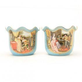 Large Pair Of Sevres Style Porcelain Cache Pots