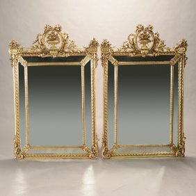 Pair Of French Louis Xvi Style Gilded Mirrors