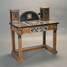 Italian Gilt And Ebonized Pietra Dura Walnut Veneered