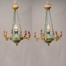 Pair Of Empire Style Seven Light Dore Bronze And Tole