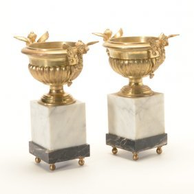 Pair Of Empire Style Gilt Bronze Urns