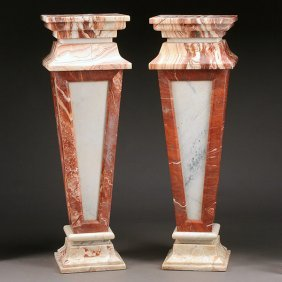 Pair Of Baroque Style Rouge, Russet And White Marble