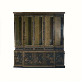 Drexel Chinoiserie Lacquered Two Piece Vitrine Cabinet