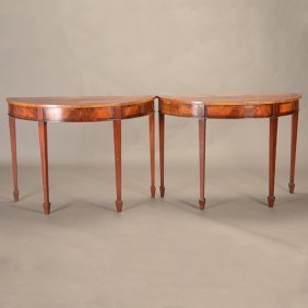 Pair Of Chippendale Style Half Moon Console Tables
