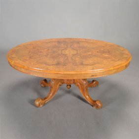 Victorian Burl Walnut Inlaid Oval Coffee Table