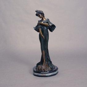 "Art Nouveau Style Bronze Figure ""flora"""