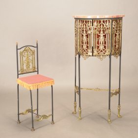 Gothic Revival Gilt Metal Chair Ensuite With Matching