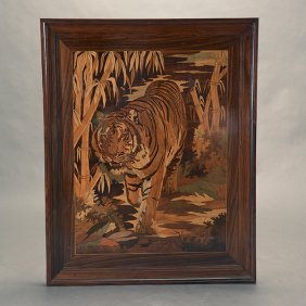 Large Framed Inlaid Wood Panel Depicting A Tiger