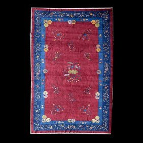 Chinese Red Ground Carpet: 11 Feet 8 Inches X 19 Feet 3