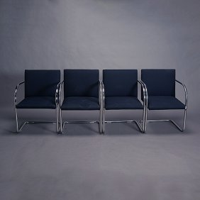 Four Mies Van De Rohe Brno Style Tubular Stainless