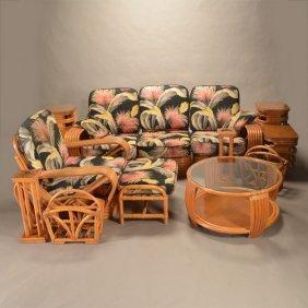 Suite Of Frankl Rattan Furniture