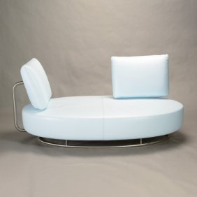 Contemporary Italian Nicoletti Pale Blue Leather Settee