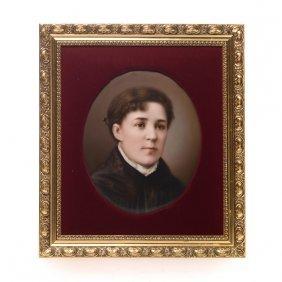 Portrait Of A Young Woman On Porcelain