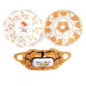 Three Gilt Decorated Meissen Porcelain Serving Bowls