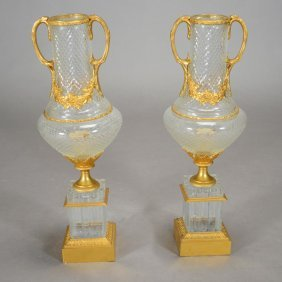 Pair Of Baccarat Style Cut Crystal Bronze Mounted Urns