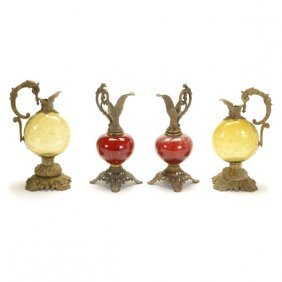 Two Pairs Of Moser Style Bronze Mounted Glass Ewers
