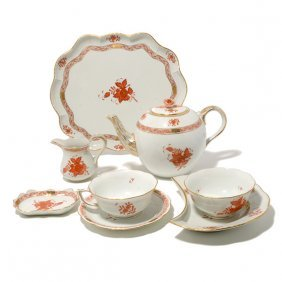 Herend Rust Chinese Bouquet Porcelain Tea Service