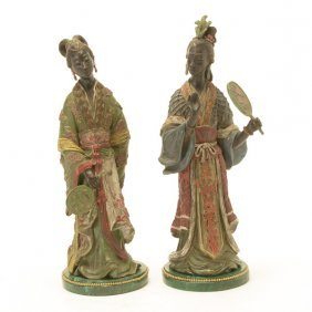 Pair Of Continental Bronze Cold Painted Figures Of