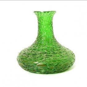 Loetz Green Favrile Threaded Glass Vase