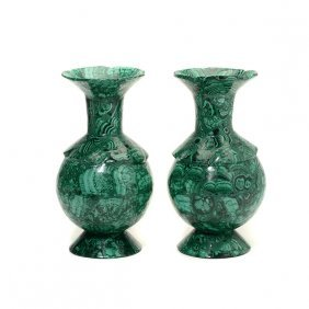 Pair Of Russian Malachite Vases