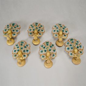 Six Czechoslovakian Bronze And Beaded Peacock Form