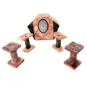 Art Deco Marble Three Piece Clock Garniture