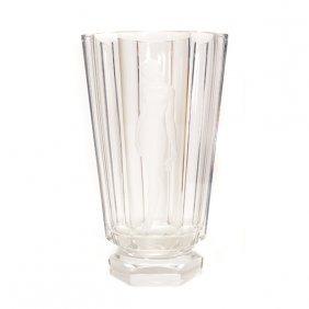 Nils Landberg Orrefors Etched Glass Vase