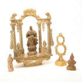 Giltwood Altar With Three Carved Wood Figures