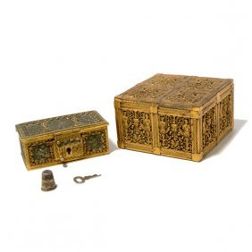 Two Gothic Revival Gilt Bronze Boxes