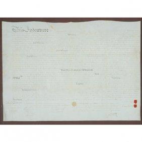 Framed Pennsylvania Land Indenture On Vellum, 18th