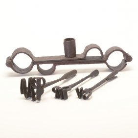 Wrought Iron Shackles And Three Branding Irons