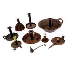 Collection Of Eight Tole, Cast Iron, Or Pewter
